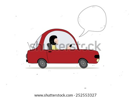 Woman driving with speech bubble - stock vector