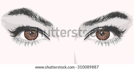 woman eyes lashes eyebrows vector illustration - stock vector