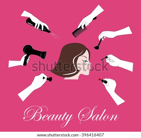 Woman face and hands that make different beauty salon service. Female face and many hands making makeup and head-dress. Design for beauty salons and beauty industry. Pink background - stock vector