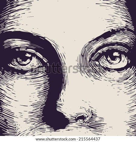 Woman face, engraved style. vector illustration - stock vector