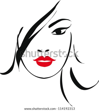 woman face illustration - stock vector