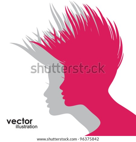 Woman face silhouette - stock vector