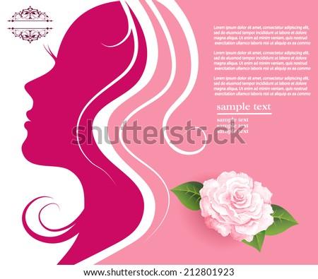 Woman face silhouette in profile - stock vector