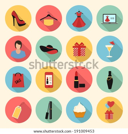 woman fashion and beauty vector colorful flat style icons set. clothing, gifts, make up, shopping - stock vector