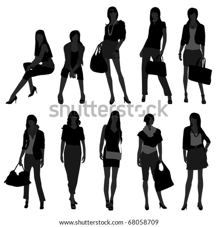 Woman Female Girl Fashion Shopping Model - stock vector