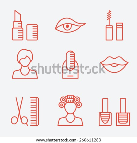 Woman female makeup cosmetic product, thin line icons, flat design - stock vector