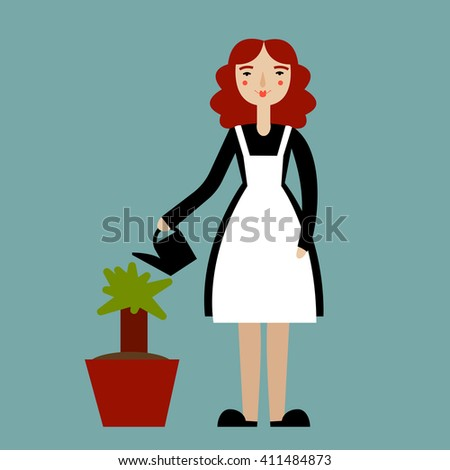 Woman gardening. Happy young woman watering flowers. Woman gardener. Housewife. Vector illustration. - stock vector