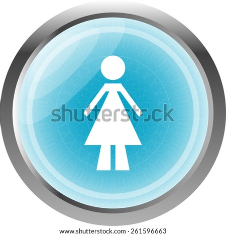 woman glossy web icon on white background - stock vector
