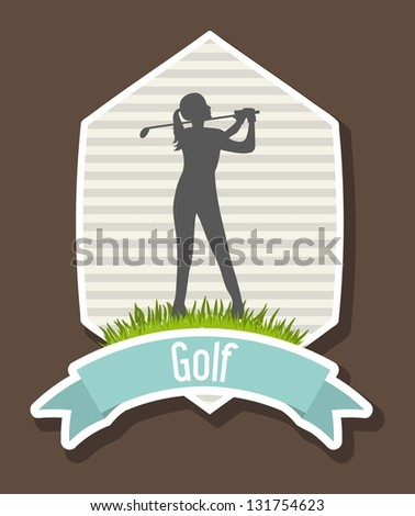 woman golfer over brow background, golf. vector illustration - stock vector