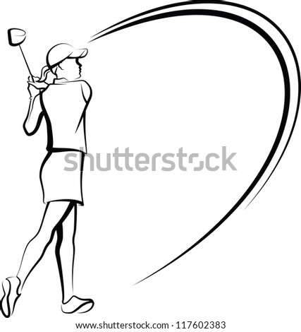 Woman Golfer Teeing Off Stylized - stock vector