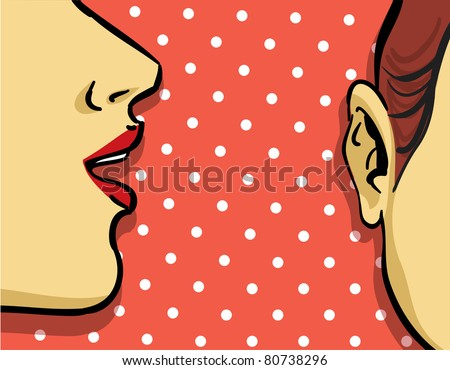 woman gossip retro illustration, polka dots background - stock vector