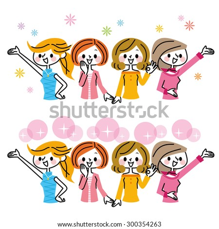 Woman group - stock vector