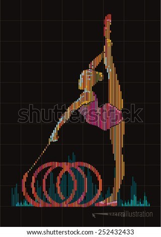 Woman gymnast. Vector artwork in the style of digital equalizer - stock vector
