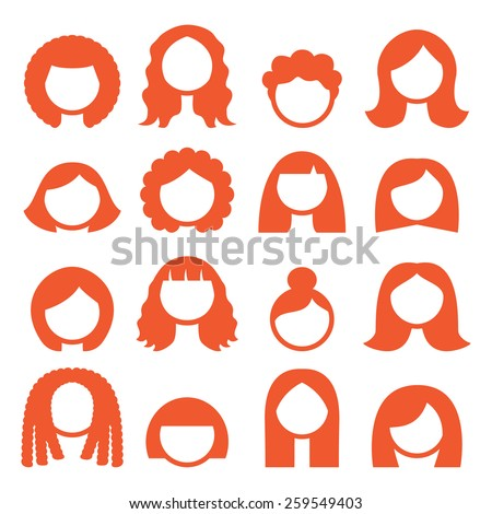 Woman hair styles, wigs icons - ginger - stock vector