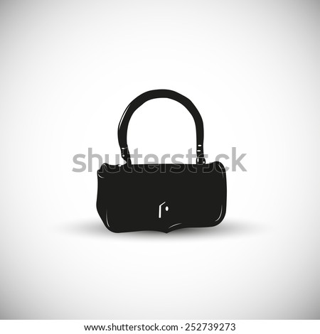 Woman hand bag illustration - 3d view design. - stock vector