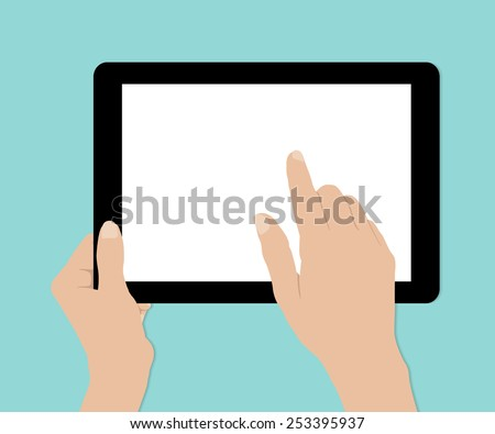 Woman hands hold and touch tablet PC on turquiose background, vector  - stock vector