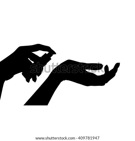 woman hands holding fragrance bottle silhouette on a white background - stock vector
