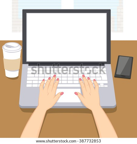 Woman hands writing working on laptop with coffee cup and smartphone on table - stock vector