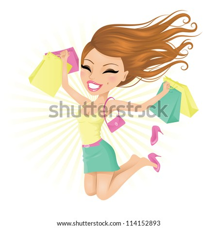 Woman happy with her shopping bags. - stock vector