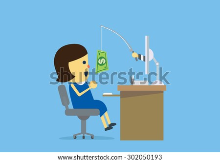 Woman have been Online Deception from cyber criminals with money. - stock vector
