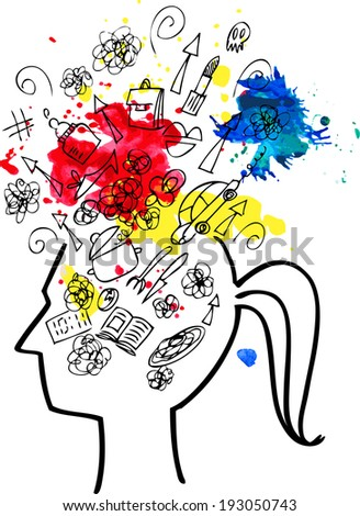 Woman head full of things to do. Concept sketchy doodles illustration. - stock vector