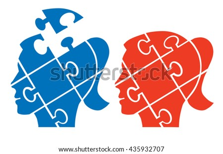 Woman head puzzle. Two Puzzle woman heads silhouettes symbolizing Psychology, psychological problems. Vector available. - stock vector