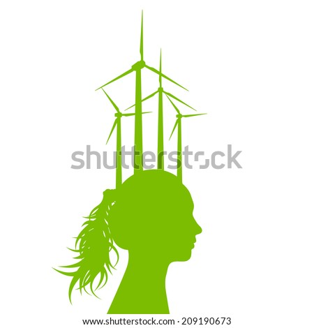 Woman head with wind generator green energy, ecology concept background  - stock vector