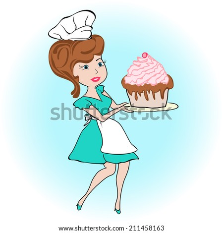 Woman holding a cake on a tray,  cutaway. Vector illustration - stock vector
