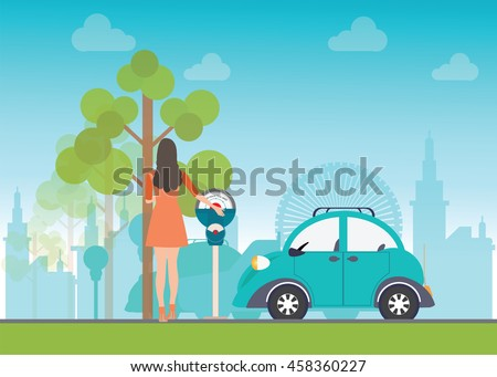 Woman holding a coin for Car park with parking meter on city view background, parking lot , parking zone conceptual Vector Illustration. - stock vector