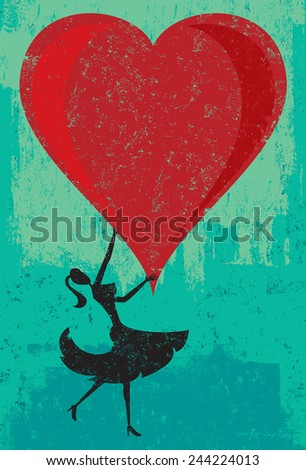 Woman holding a heart A woman holding a large heart over an abstract background. The woman & heart and background are on separate labeled layers.  - stock vector