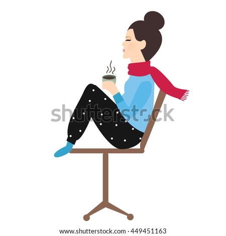 woman holding coffee tea mug in chair enjoy her drink in cold weather  - stock vector