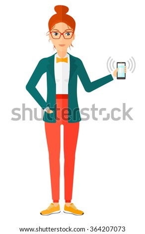 Woman holding ringing telephone. - stock vector