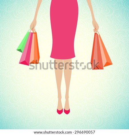 Woman holding shopping bags. Vector design template. - stock vector