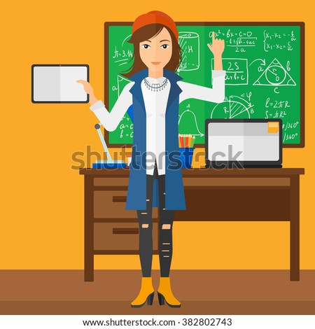 Woman holding tablet computer. - stock vector