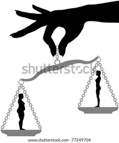 Woman holds fat fit silhouettes on a scale symbol of Diet Weight Loss Choice - stock vector