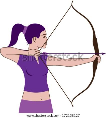 Woman hunter sports vector - stock vector