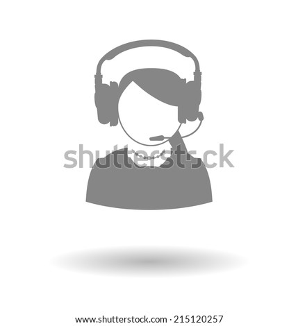Woman icon call center technical support faceless woman with a headset on a white background with shadow - stock vector