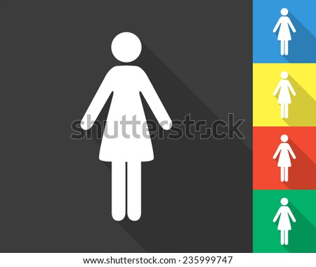 woman icon - gray and colored (blue, yellow, red, green) vector illustration with long shadow - stock vector