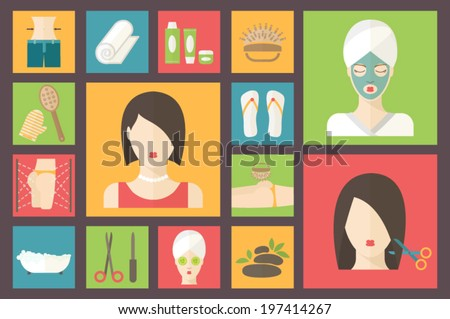 Woman in a beauty and spa salon. Facial, body and hair care illustration. Beauty and spa procedures made in flat design. Vector icons set. - stock vector