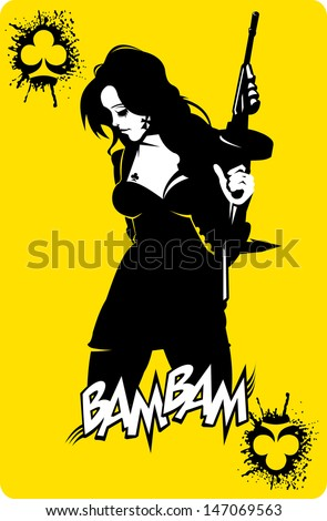 woman in black suits with a weapon, vector, illustration - stock vector