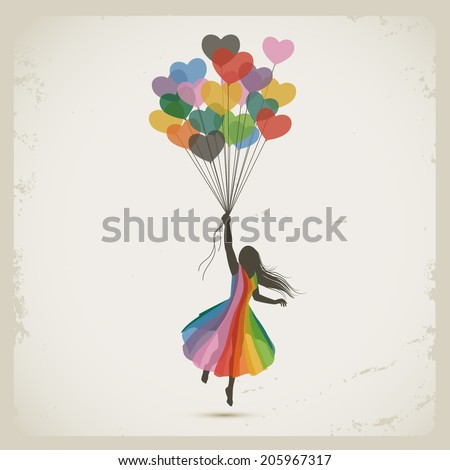 Woman in love, heart balloons, eps10 vector - stock vector