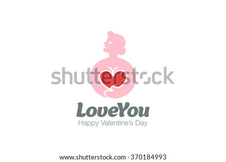 Woman in Love holding Heart Logo design vector template. Valentines day concept. Cardio Health Logotype. Cardiology medical icon. - stock vector