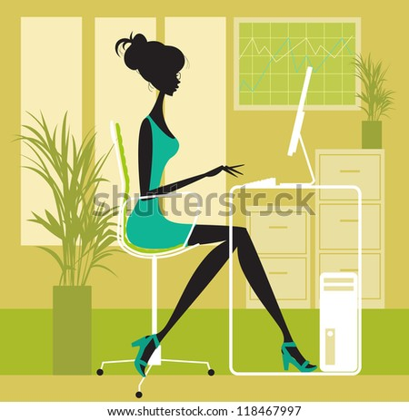 Woman in Office Female working at a computer desk in office environment - stock vector