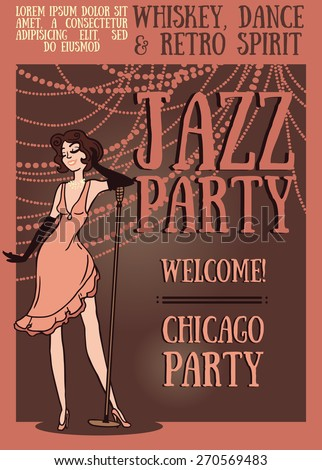 woman in retro style singing jazz music, Chicago party poster, vector illustration - stock vector