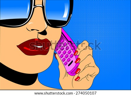 woman in sunglasses talking on the phone, vector - stock vector