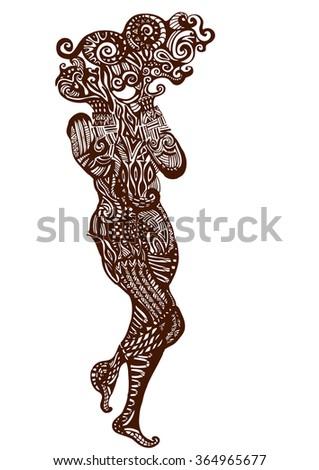 Woman in vintage style elements of openwork - stock vector
