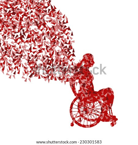 Woman in wheelchair vector background disabled people concept - stock vector