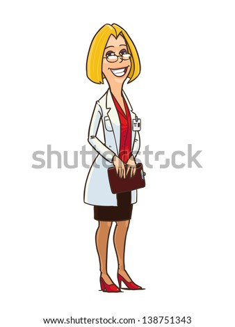 woman in white medical gown with clipboard in the hands. full length cartoon character isolated on white background - stock vector