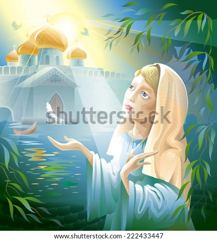 woman is a nun praying in the monastery. Madonna - stock vector