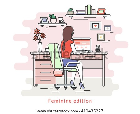 Woman is working with laptop. Flat line contour illustration of student studying process sitting at home. Young woman in the room with rose wall, bookshelfs, work desk, chair, fashion bag - stock vector